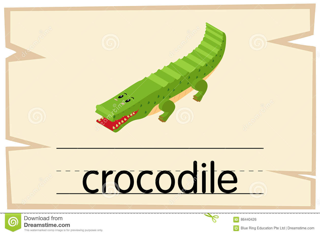 wordcard template for word crocodile stock vector illustration of