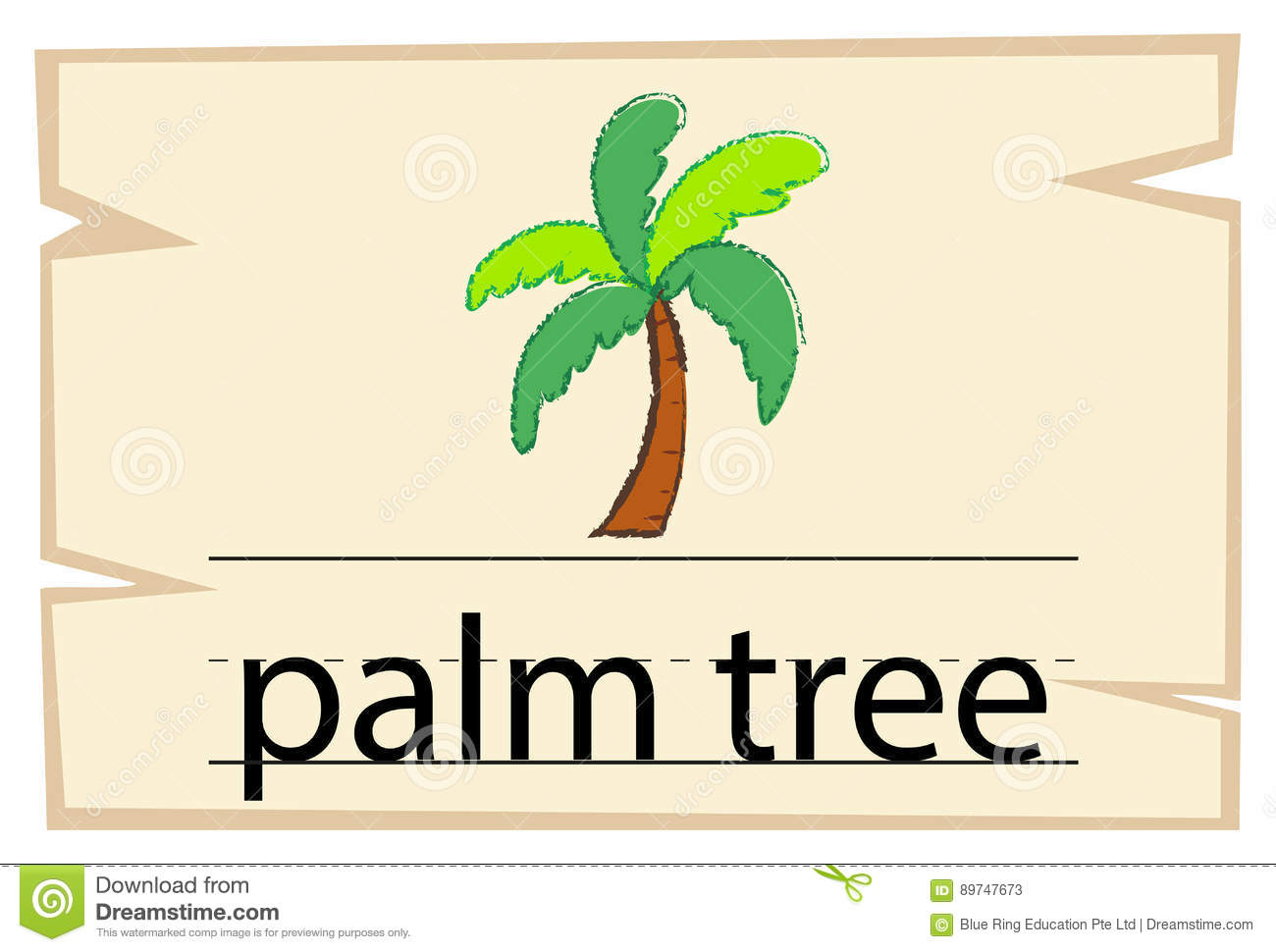 Wordcard template for word palm tree stock vector for Palm card template word