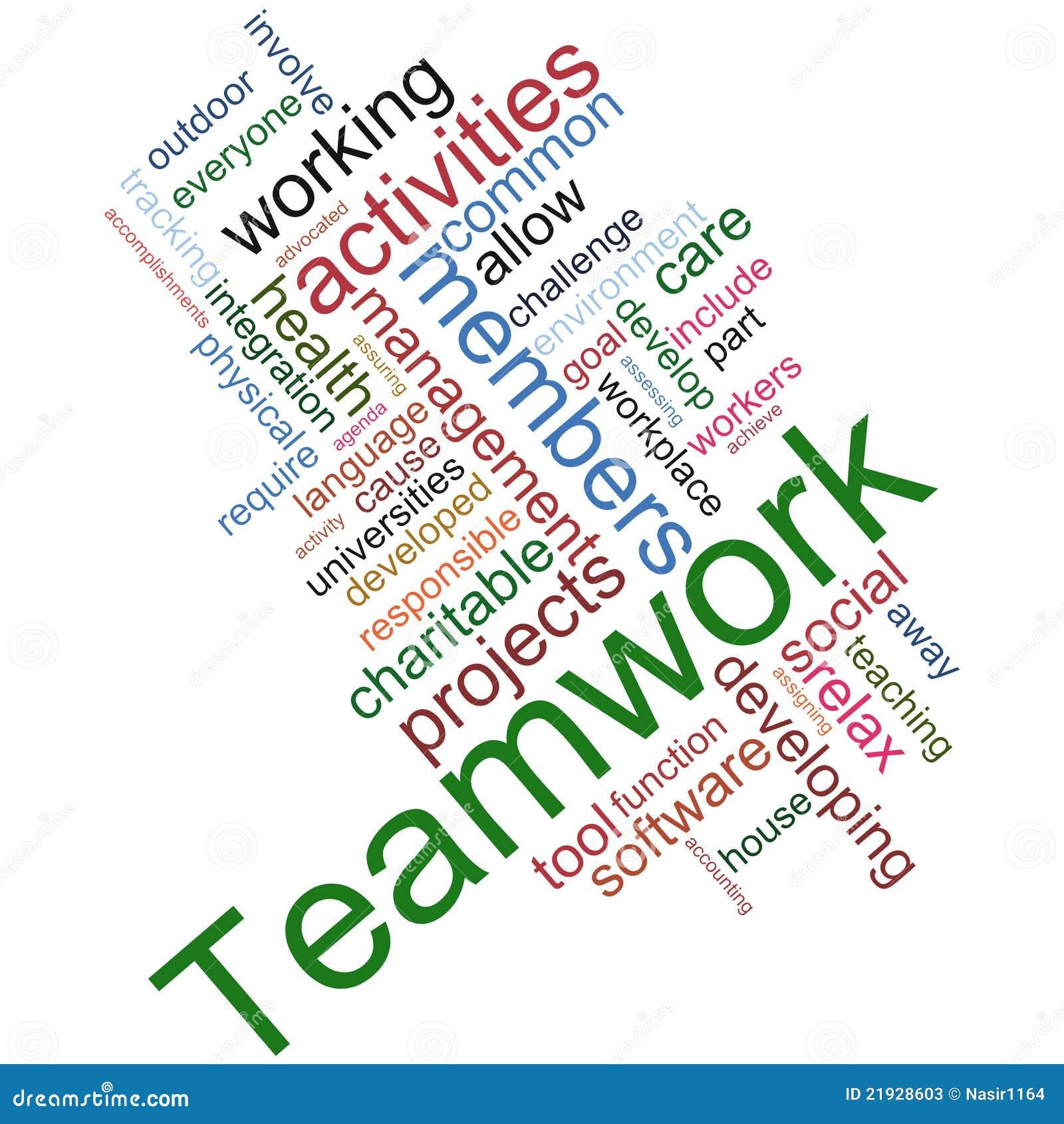 Wordcloud di lavoro di squadra