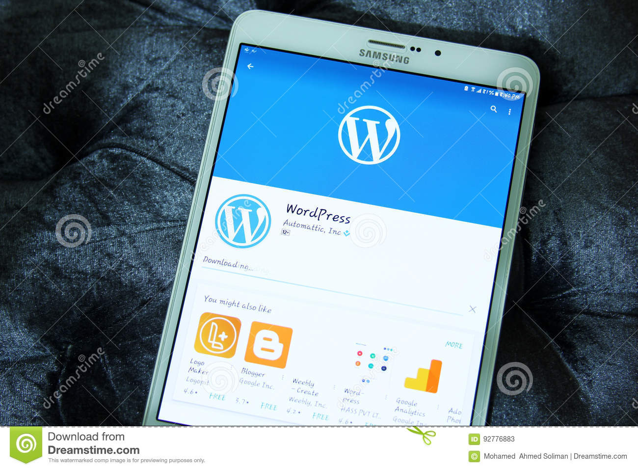 WordPress Android Mobile App Editorial Stock Photo - Image