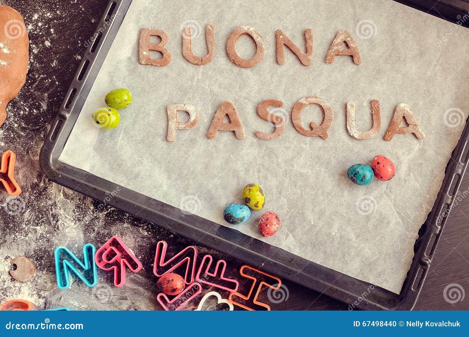 Words Buona Pasqua As Happy Easter In Italian Language Stock Photo