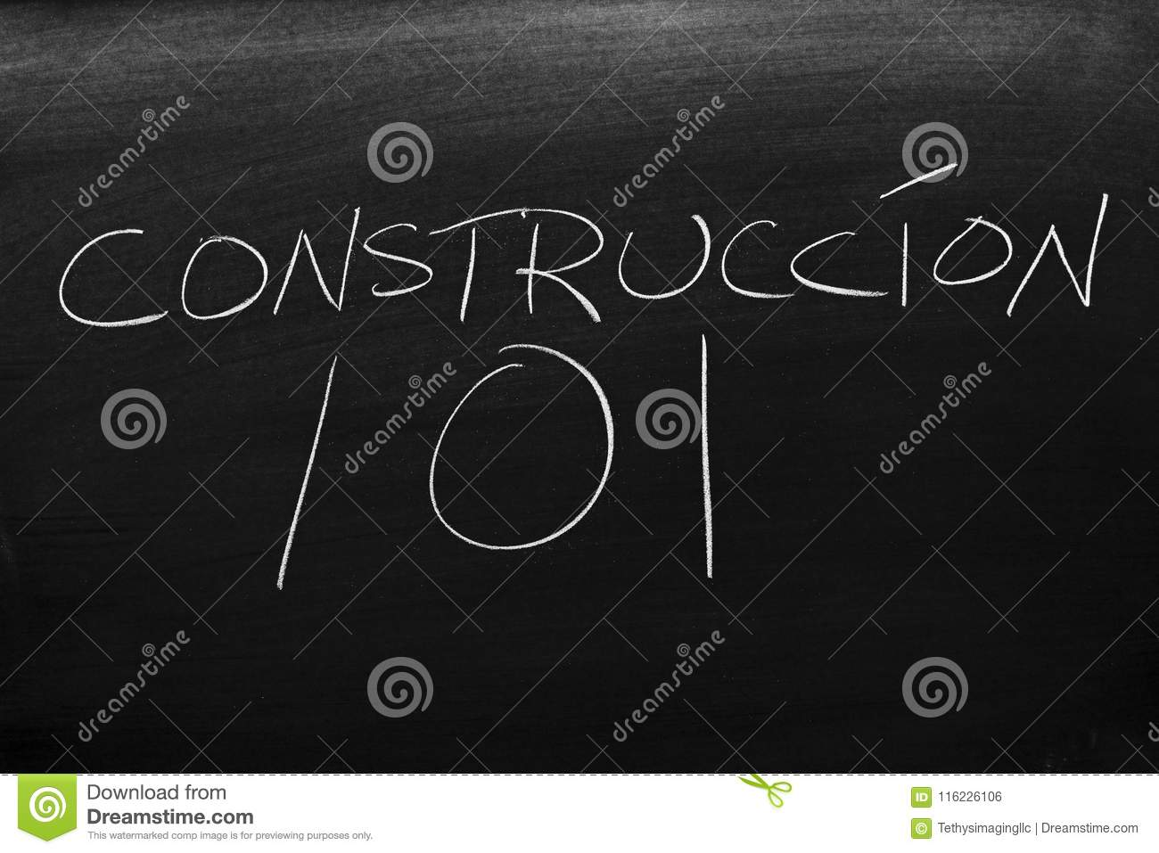 construcción 101 on a blackboard translation building 101 stock