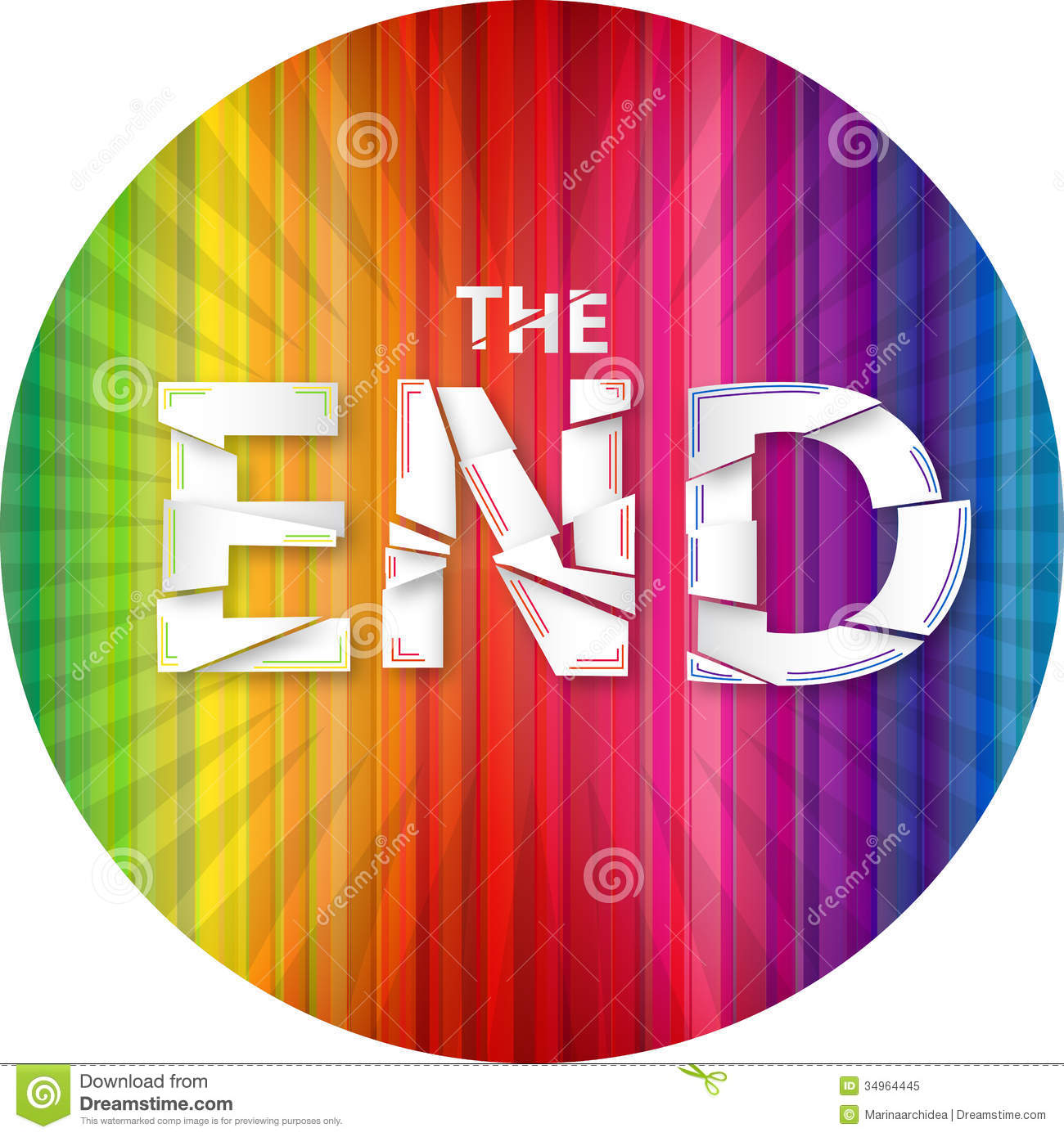 Words The End On The Rainbow Background Royalty Free Stock