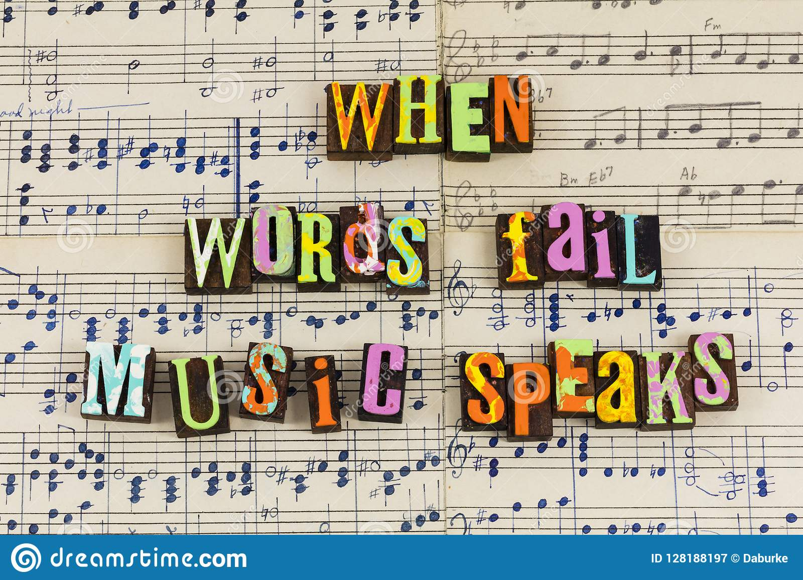 Hand Drawn Music Paper Quote Letterpress Musical Speaks Speaking Communication Notes Melody Singing Love Live Enjoyment Life Background