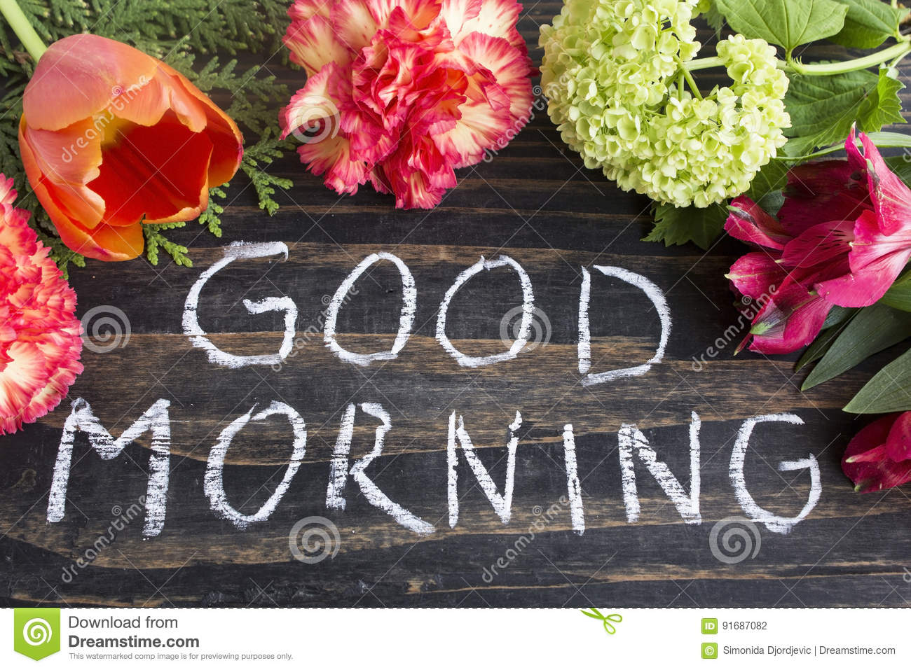 Words Good Morning With Flowers Stock Photo Image Of Beautiful