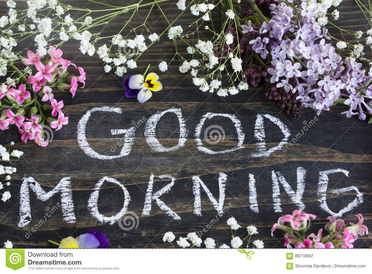 Words Good Morning With Spring Flowers Stock Image Image Of Lilac