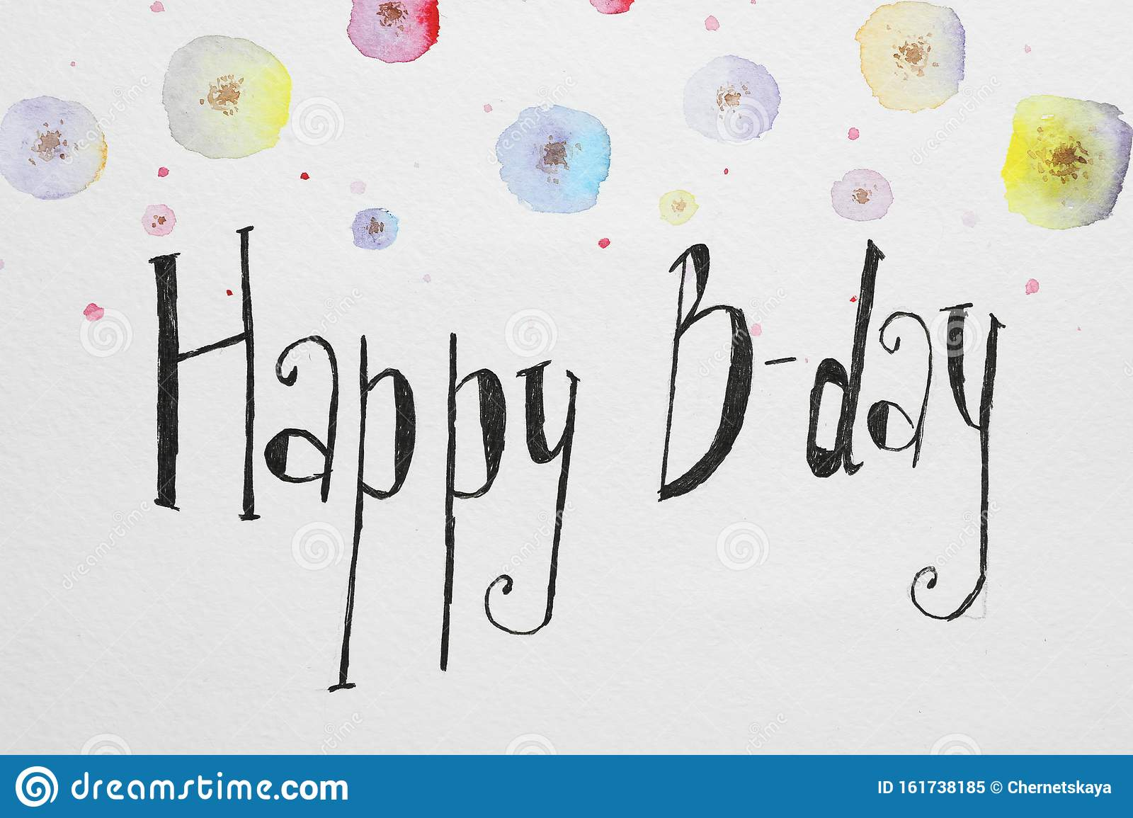 Words HAPPY BIRTHDAY and color flowers pictures on white paper