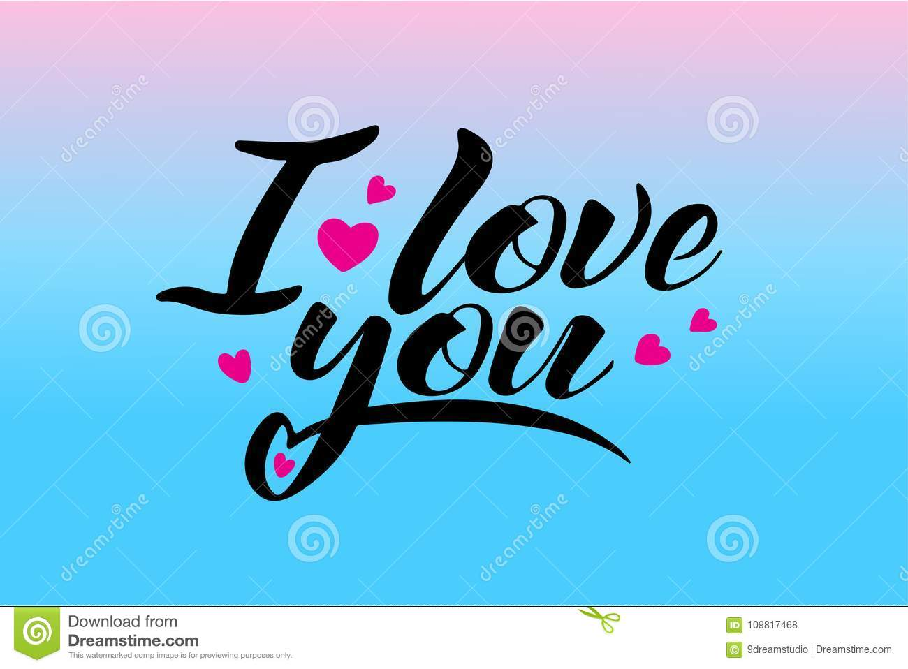 words i love you vector lettering handwritten text concept