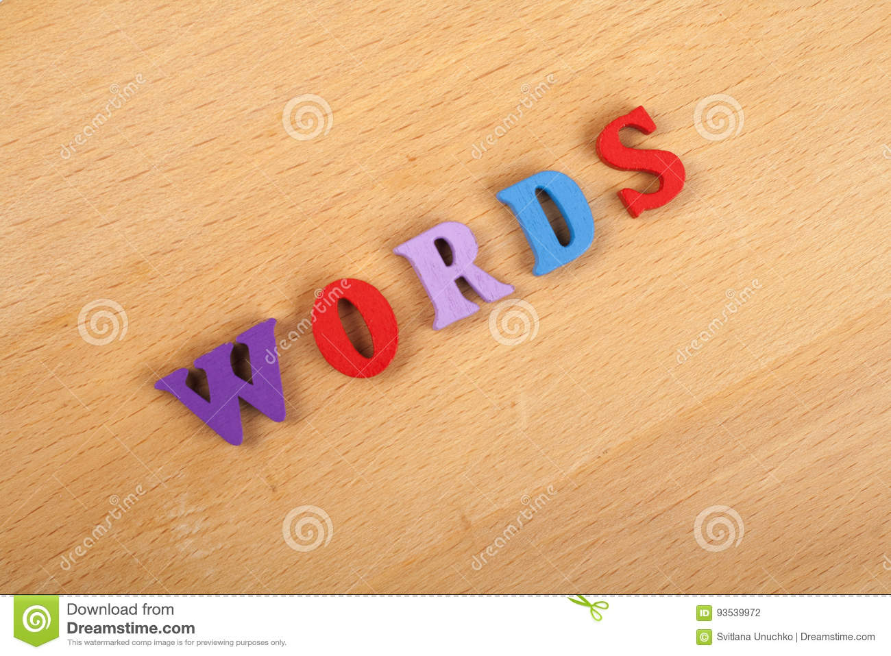 Words Letters Word On Wooden Background Composed From