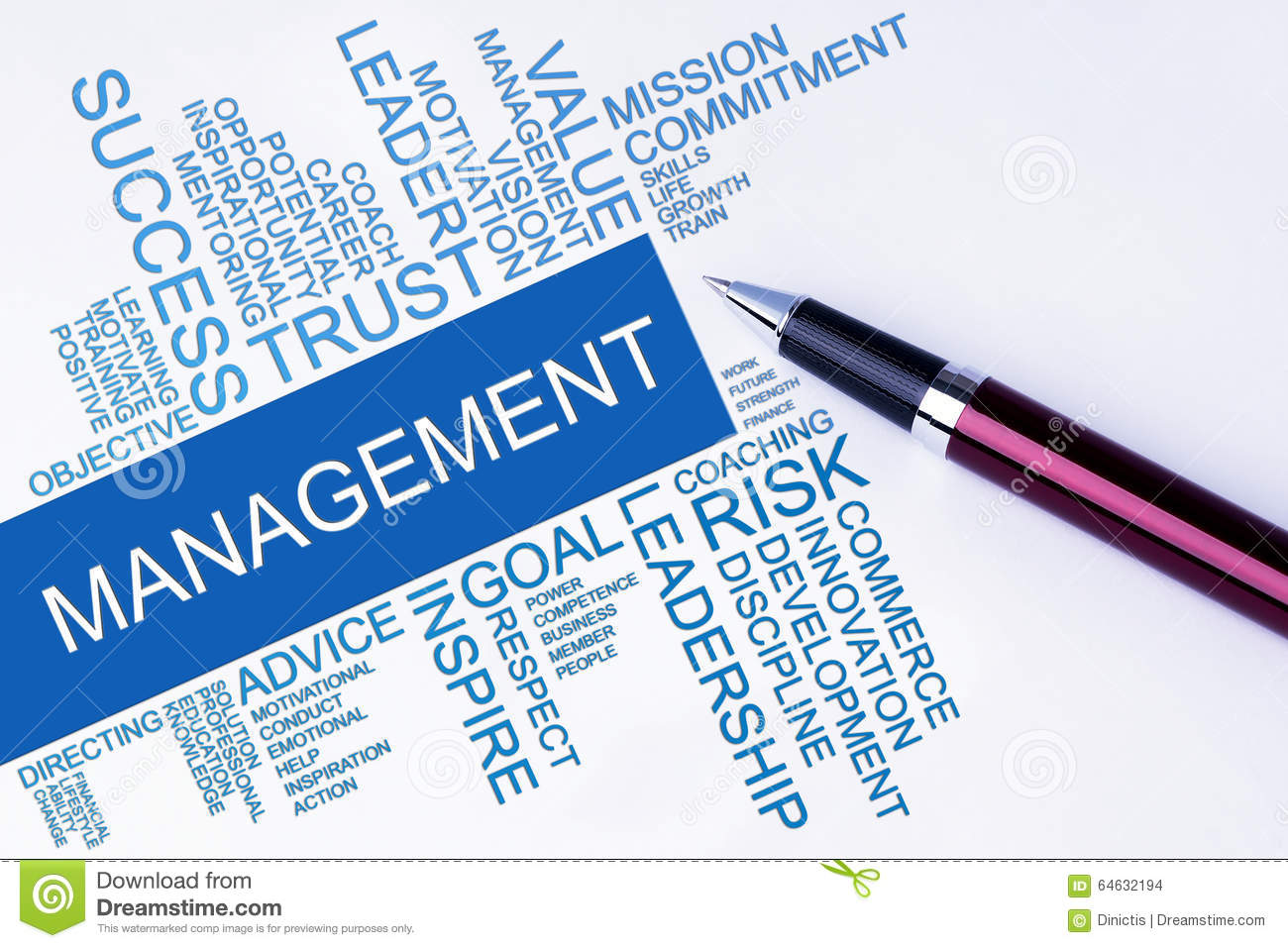 The words Management text cloud with a pen on isolated white