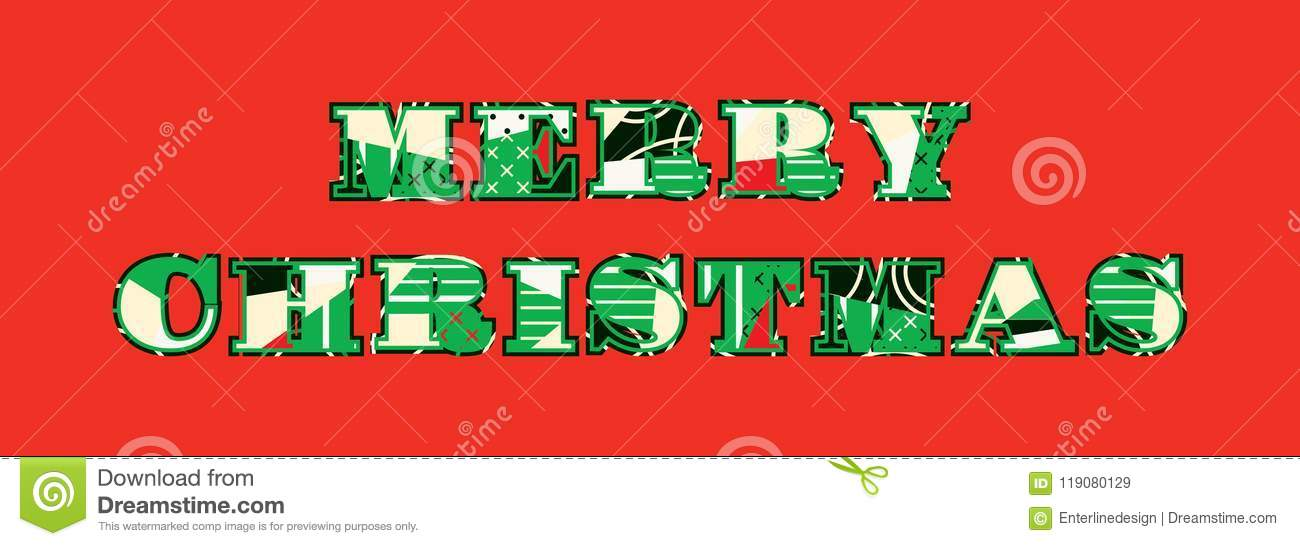 Merry Christmas Concept Word Art Illustration Stock Vector