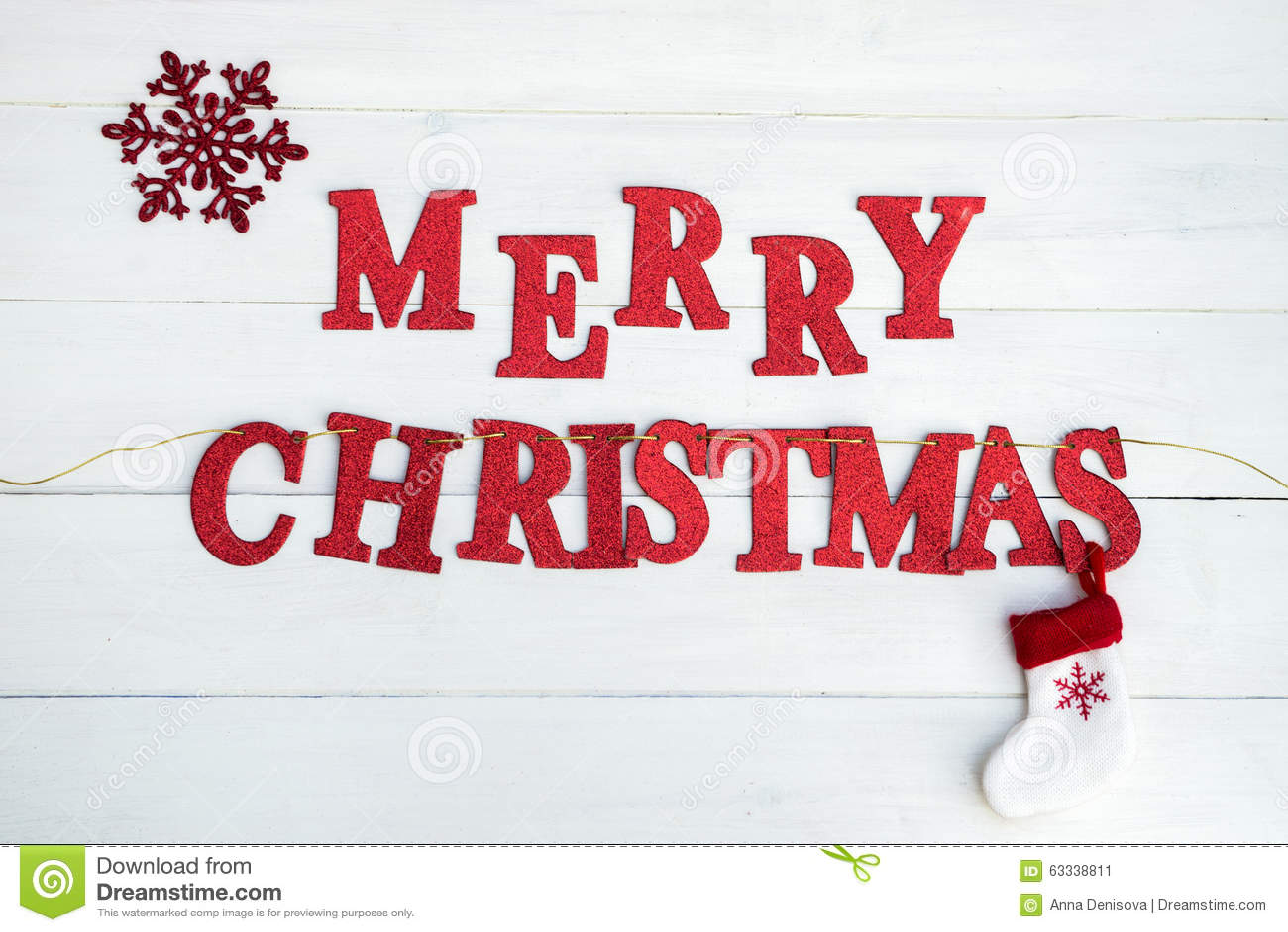 Words Merry Christmas Stock Photo