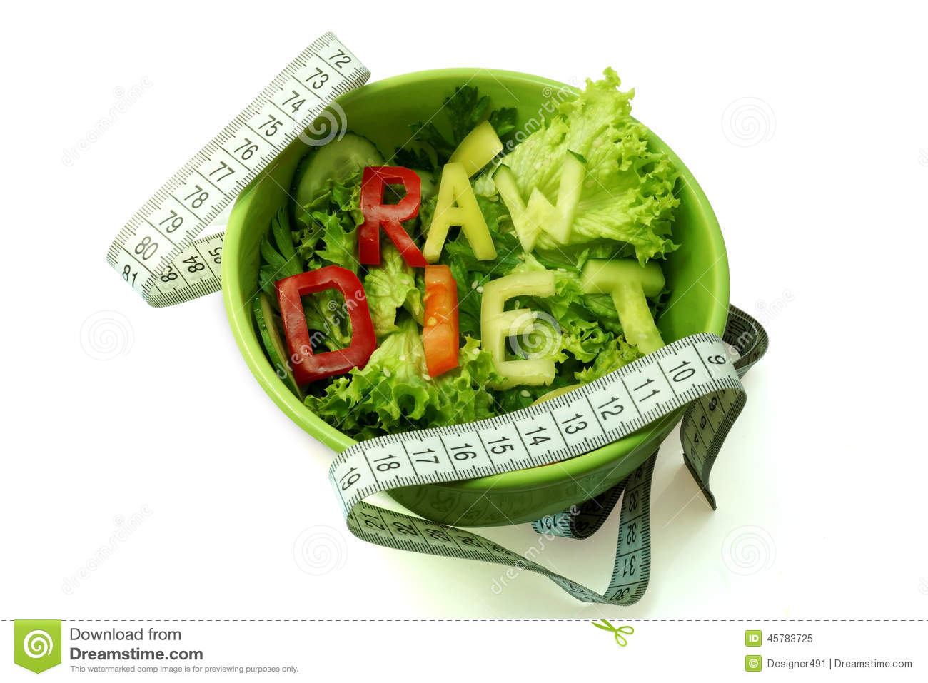 Words raw diet composed of slices of different vegetables