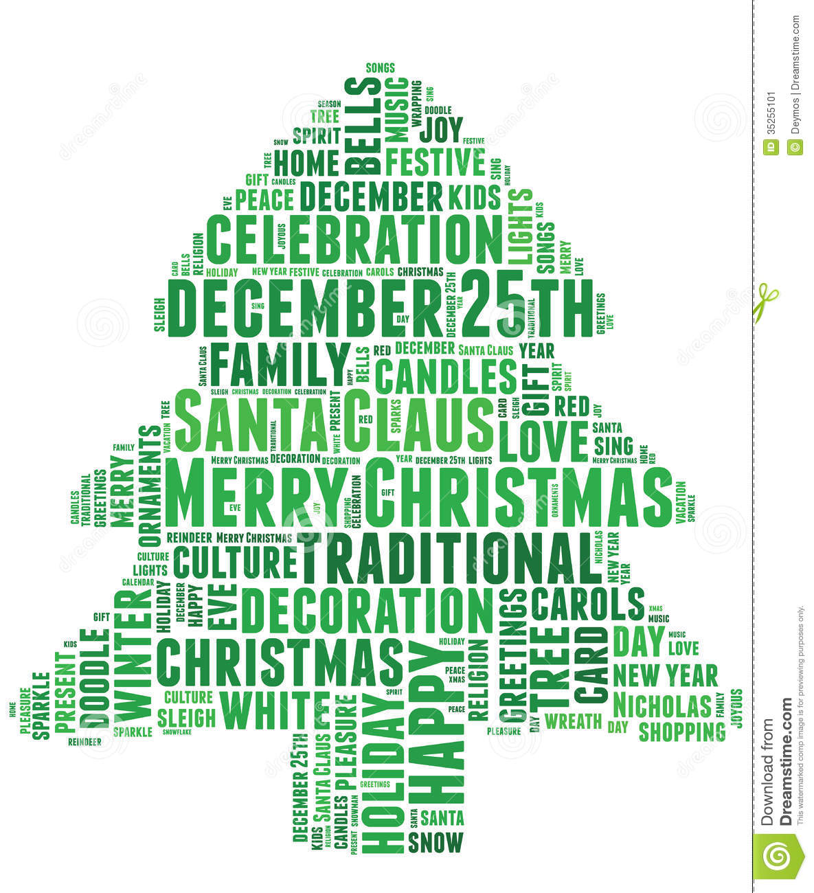 Words Related To Christmas And Celebration Stock Image - Image ...