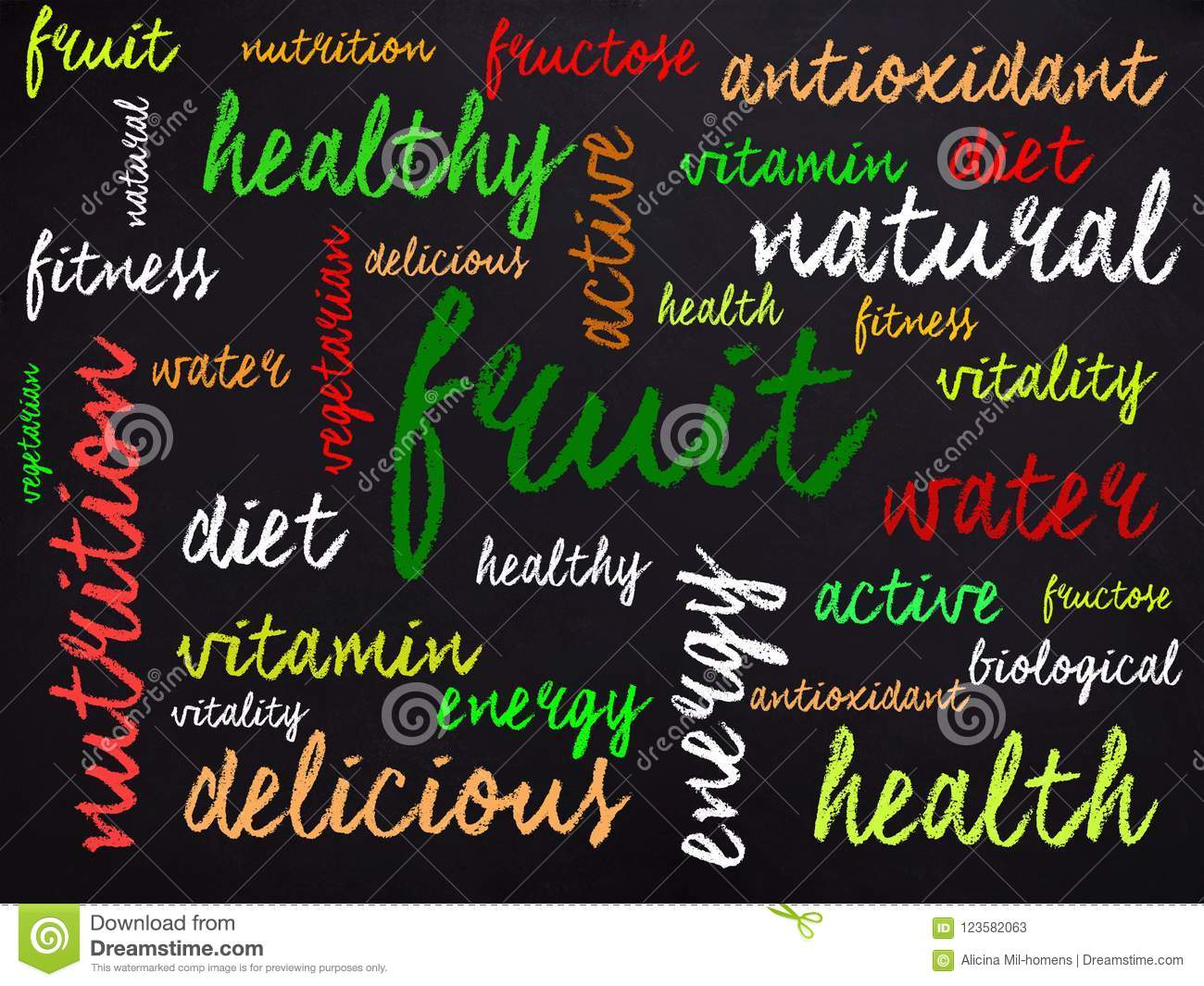 words related to health written in chalk stock illustration