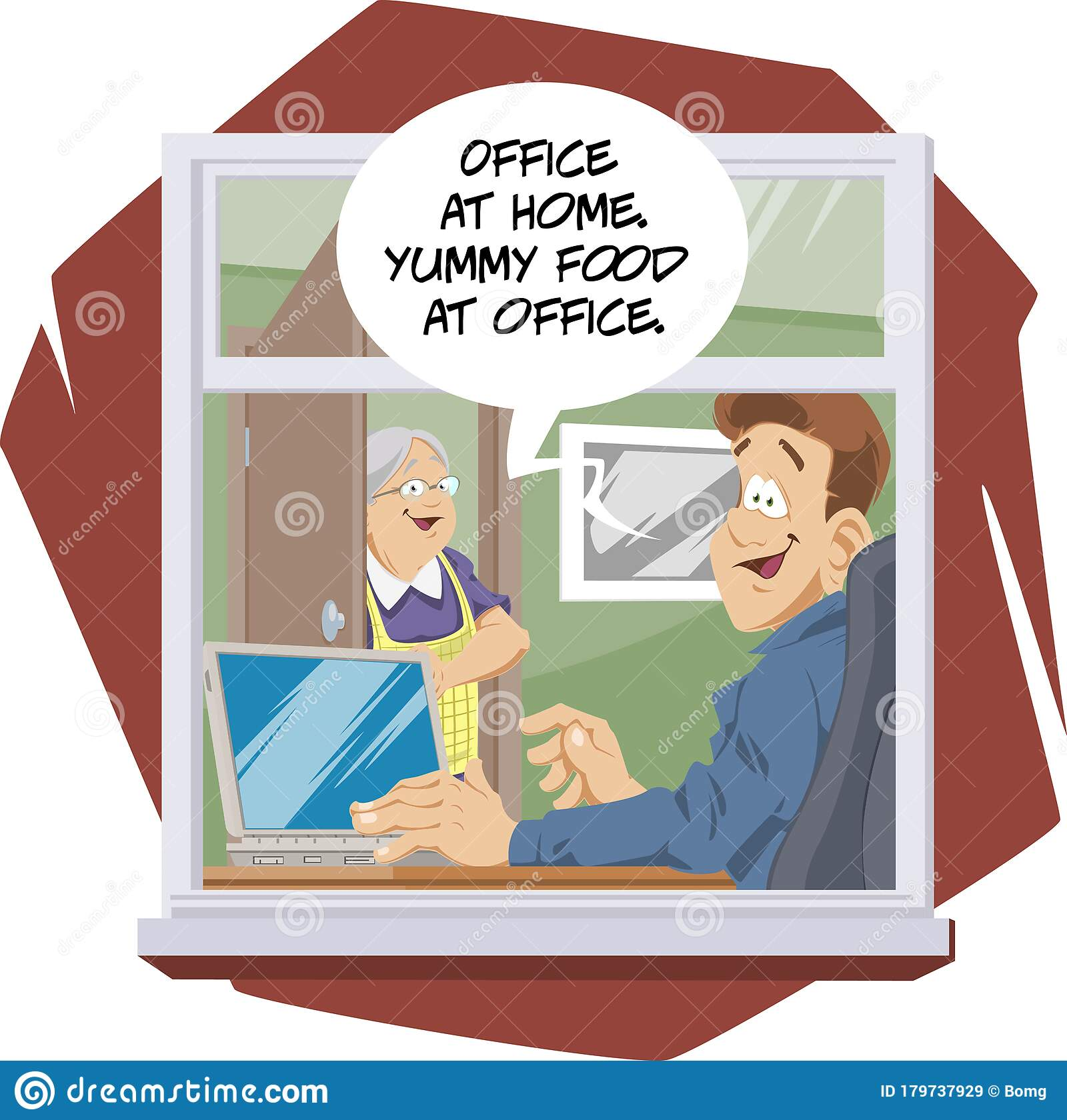 Work Away From The Office. Job At Home Stock Vector