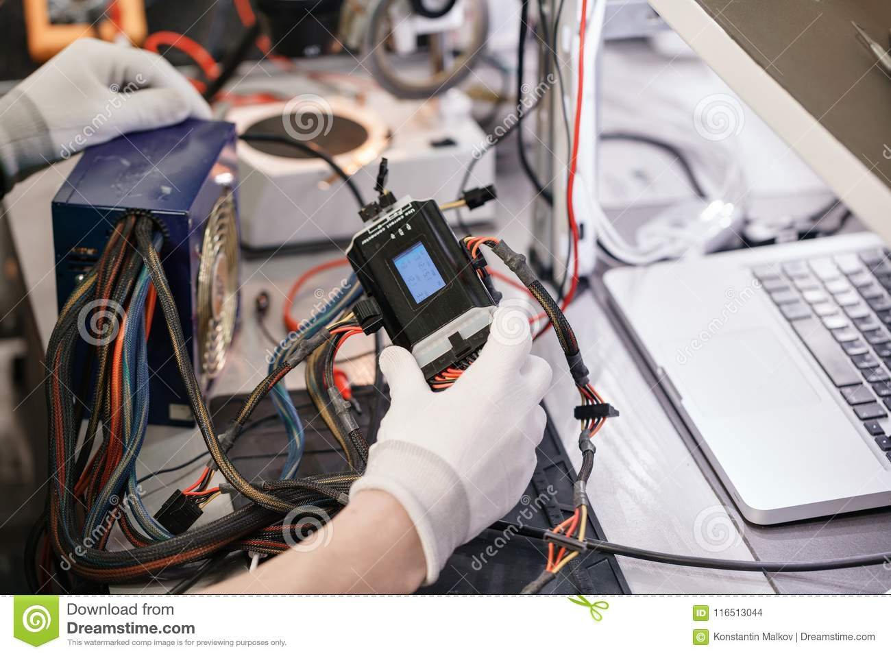 Work With A The Computer`s Power Supply. Microelectronics Device ...