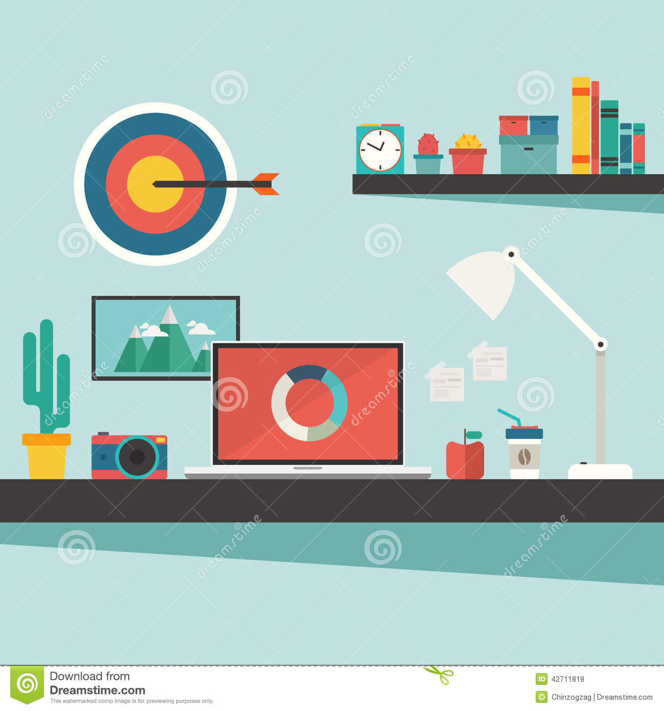 work desk and accessories on flat design concept stock vector