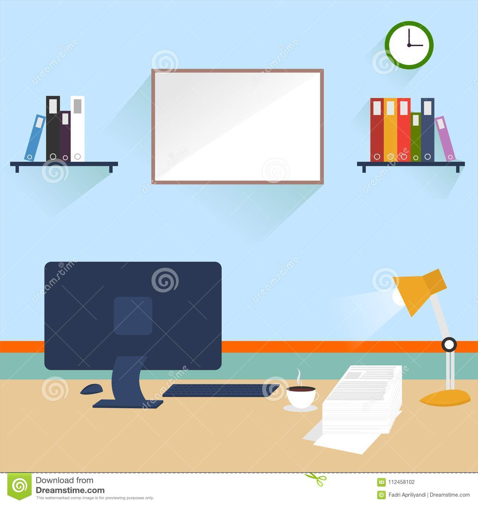work desk vector version 2 0 stock illustration illustration of