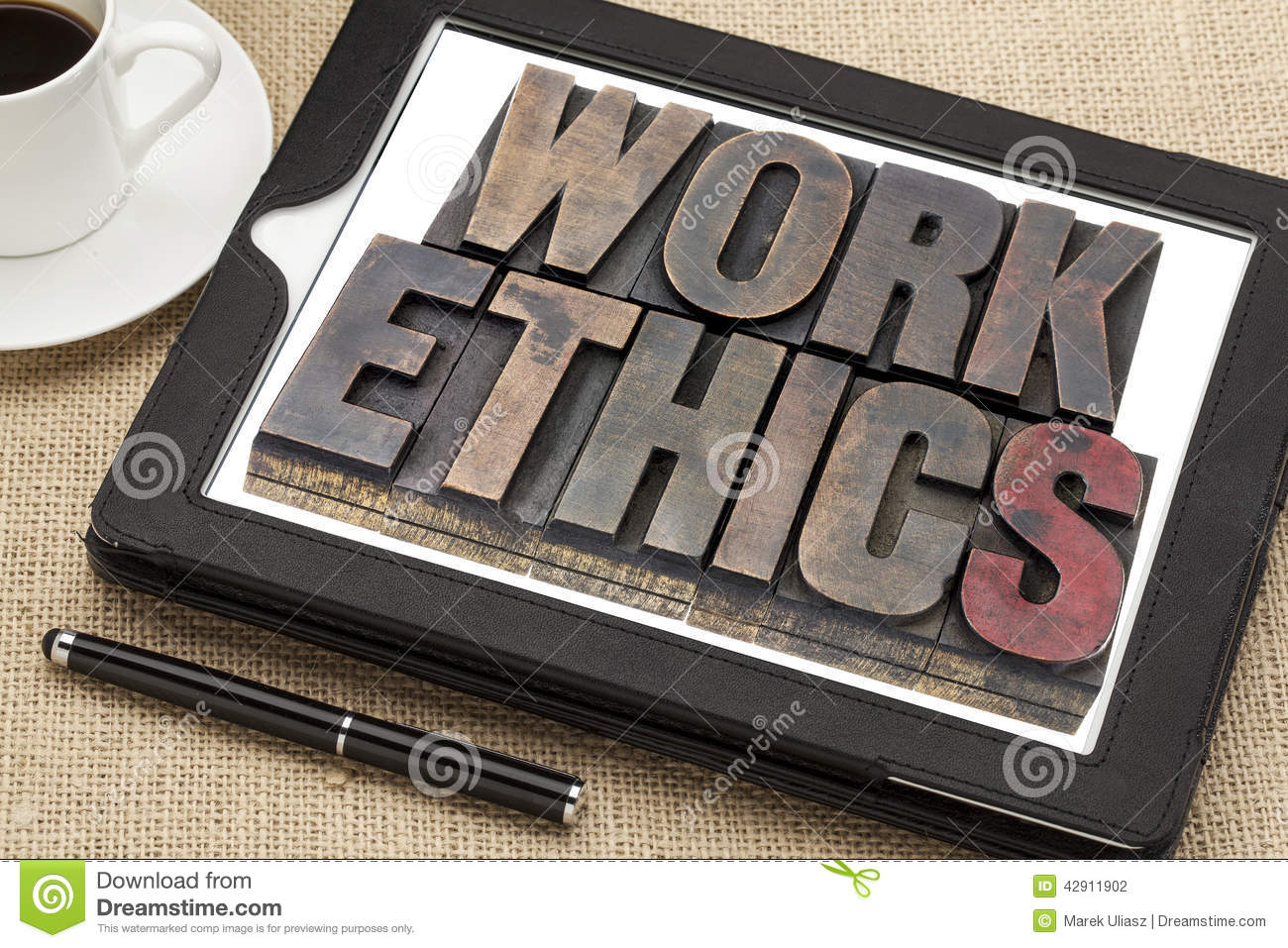 work ethics on digital tablet stock photo image  work ethics on digital tablet