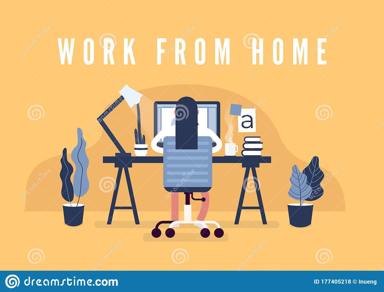Work From Home Concept Graphic Design Workspace Designers Sitting On The Desk Stock Vector Illustration Of Character Company 177405218