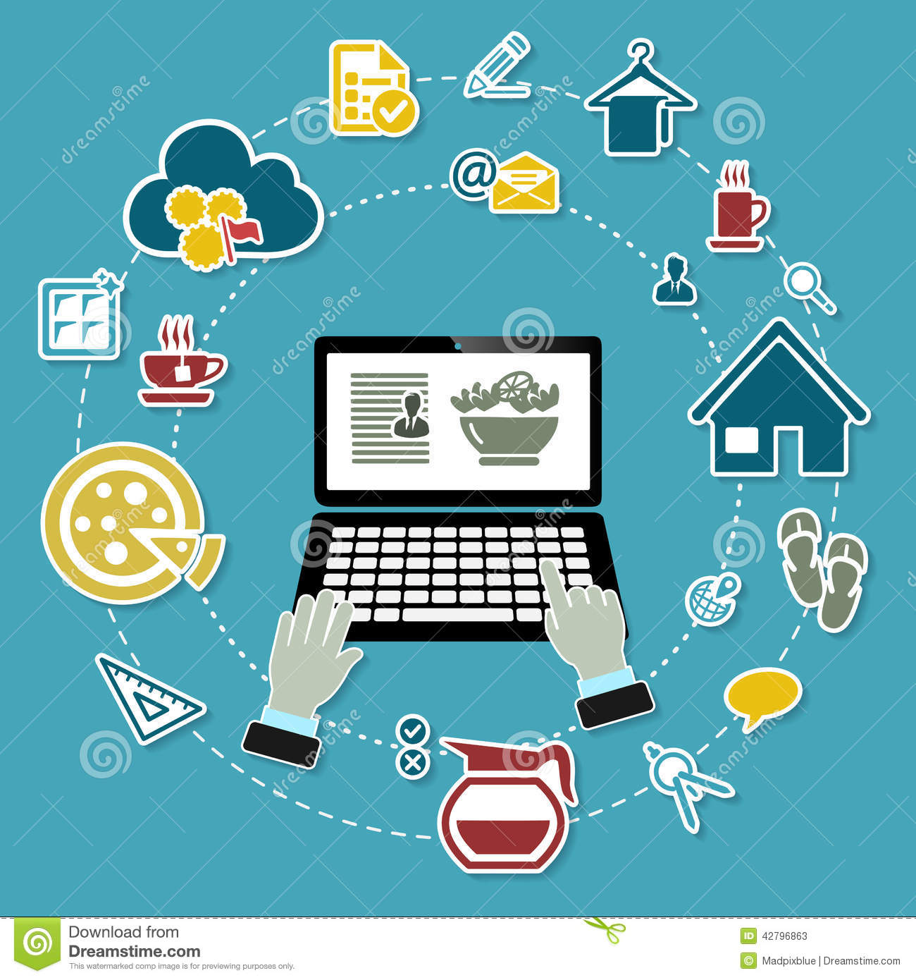 work from home concept illustration with working laptop and icons on