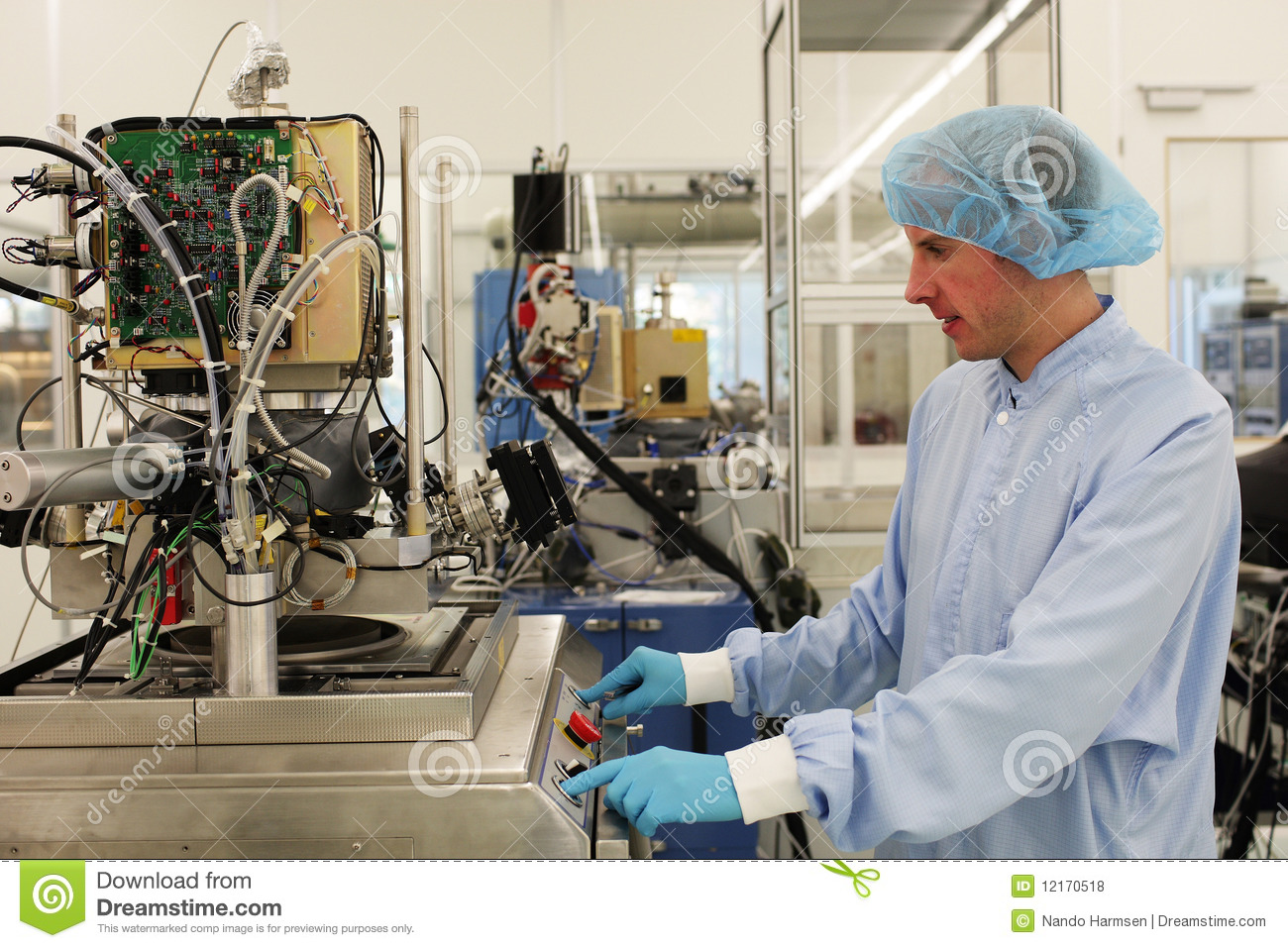 At Work Inside A High Tech Cleanroom Stock Photo Image
