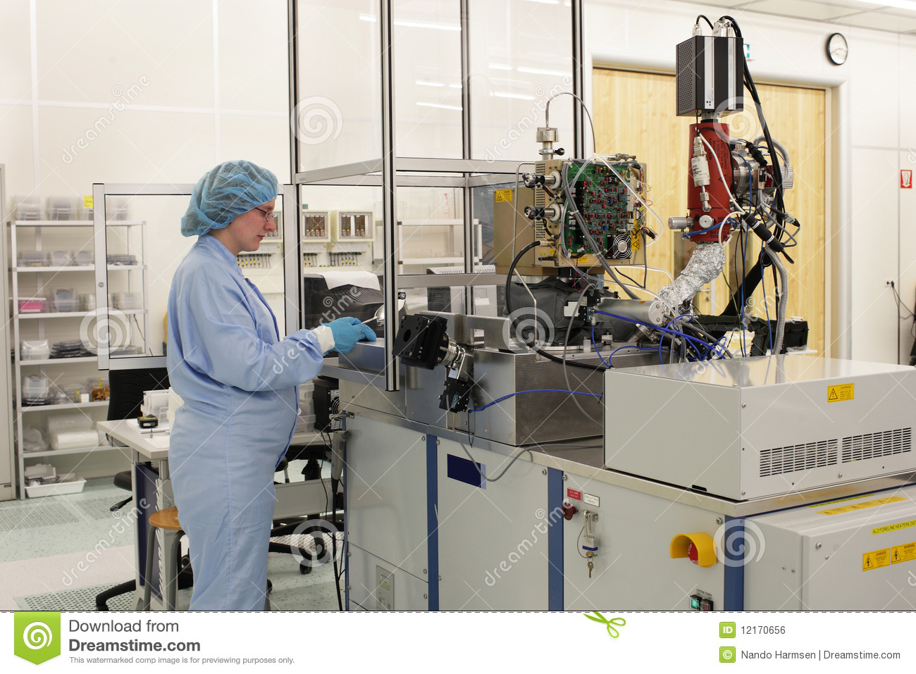 At Work Inside A High Tech Cleanroom Royalty Free Stock