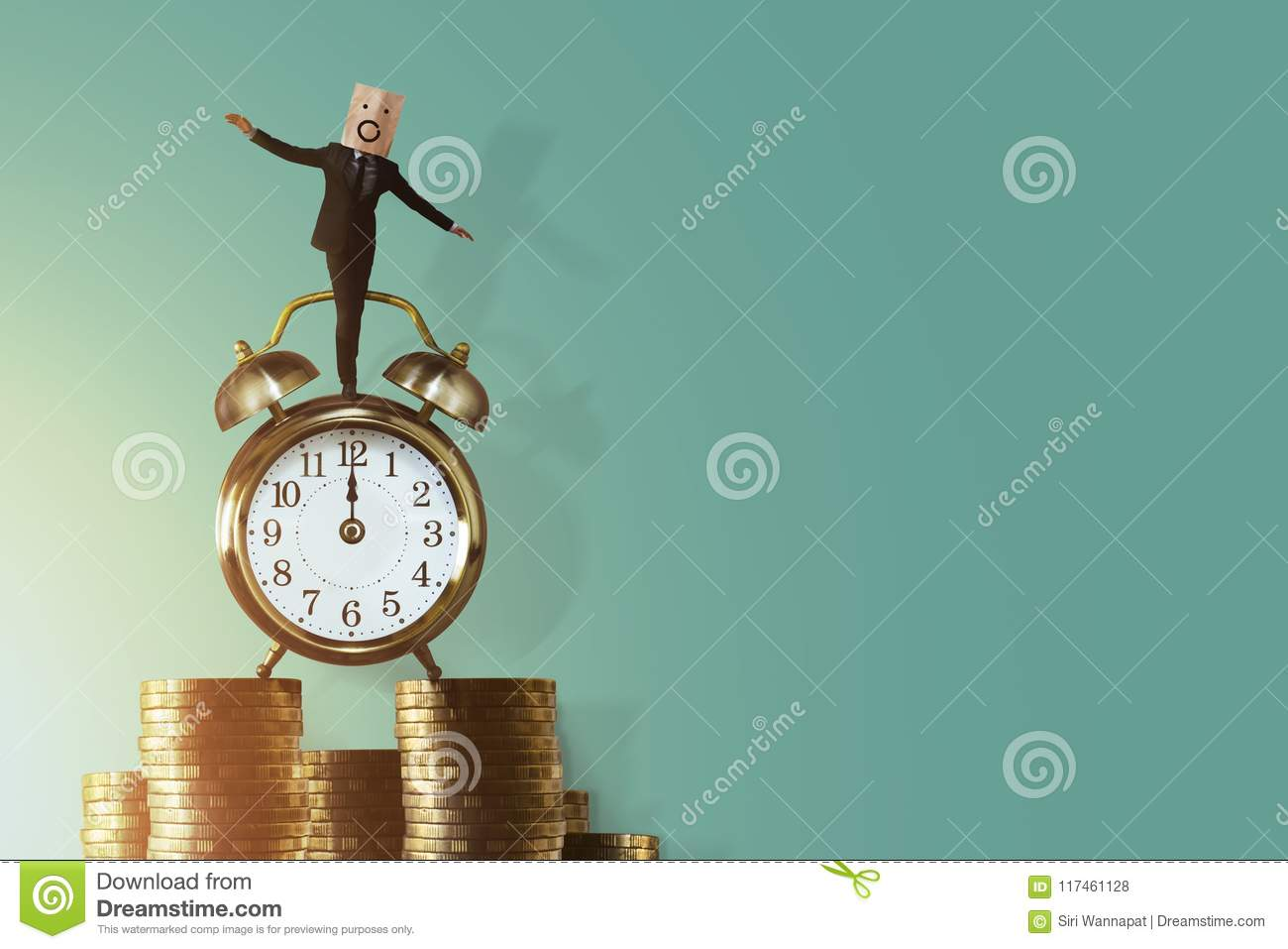 Work Life Balance for Time and Money Concept. Excited Businessman Balancing his body on Vintage Alarm Clock and Stack of Coin. Fa