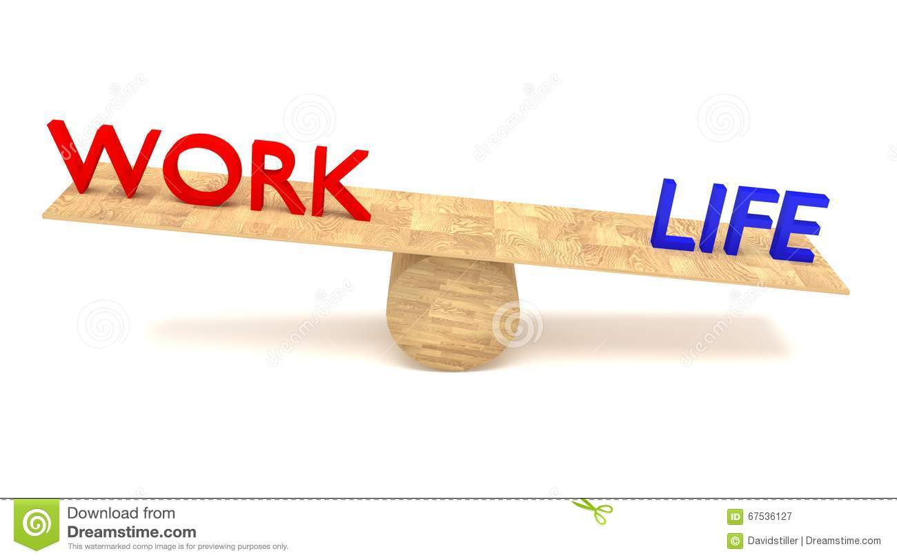 Work-life balance: words on a wooden seesaw