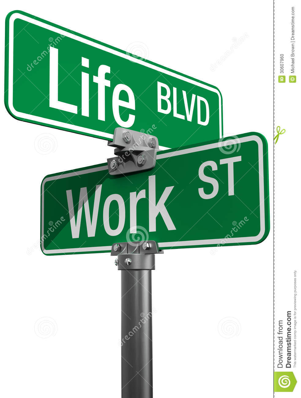 Work or Life decision street signs