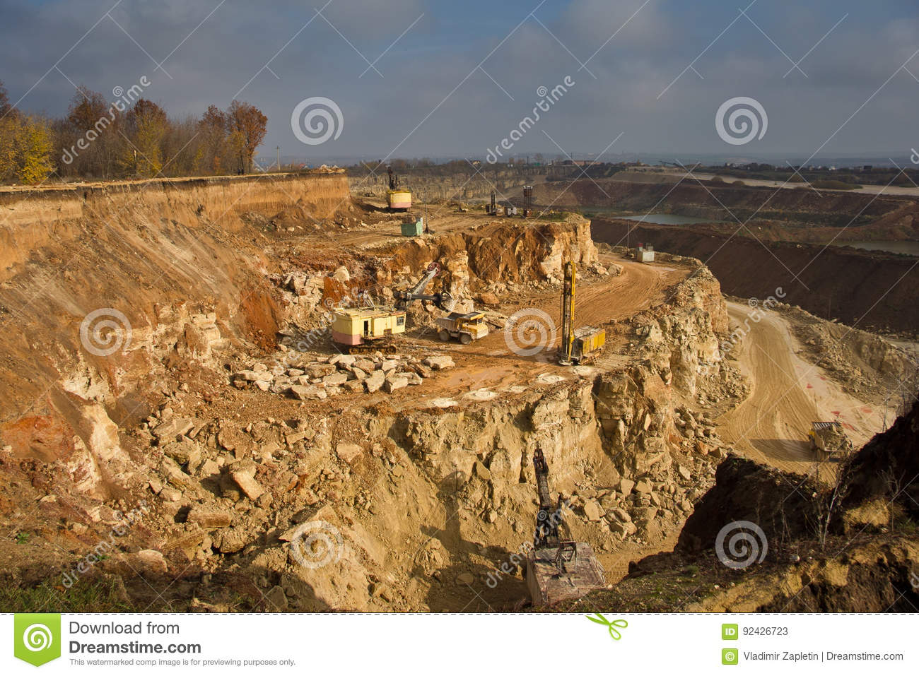 Work On Limestone Mining In A Quarry Stock Image - Image of