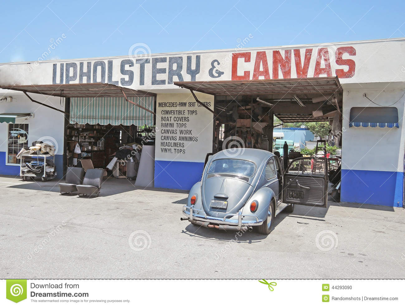 Work Place Auto Upholstery Shop Stock Photo Image Of Vintage