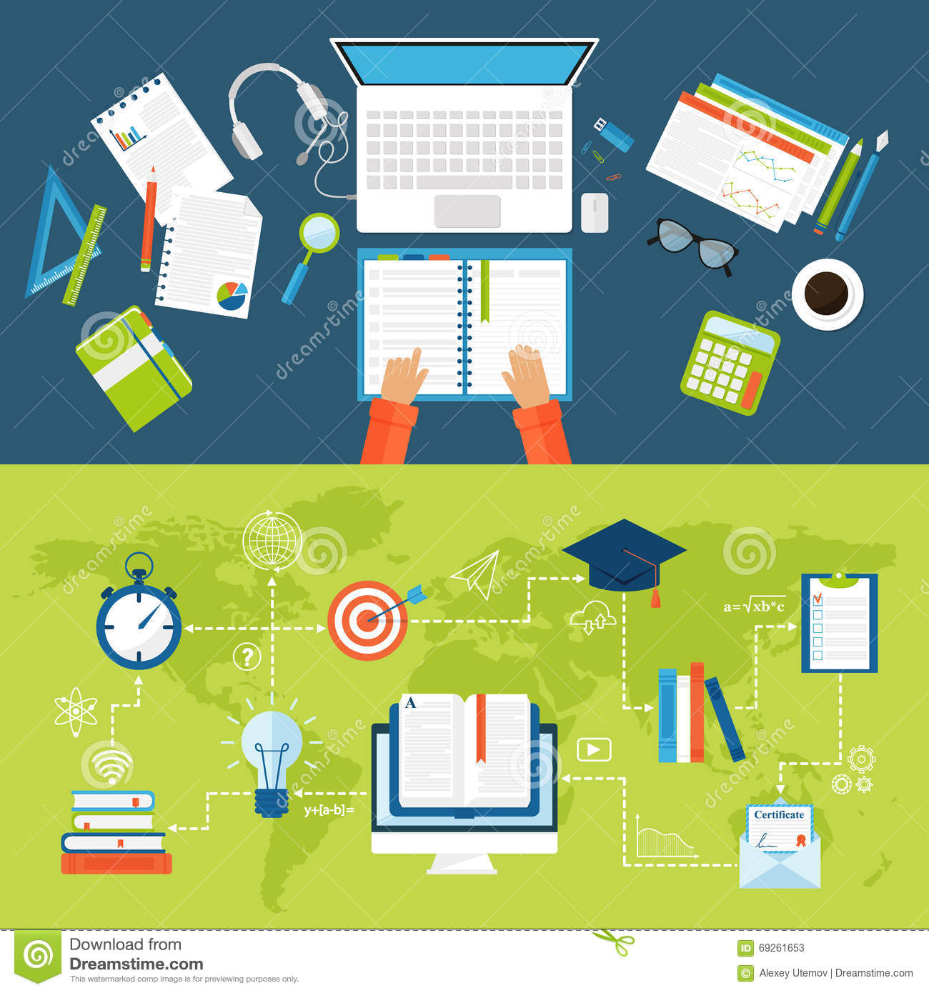 work office desk. Work Place Group Business People Working Office Desk Top View Concept Vector.
