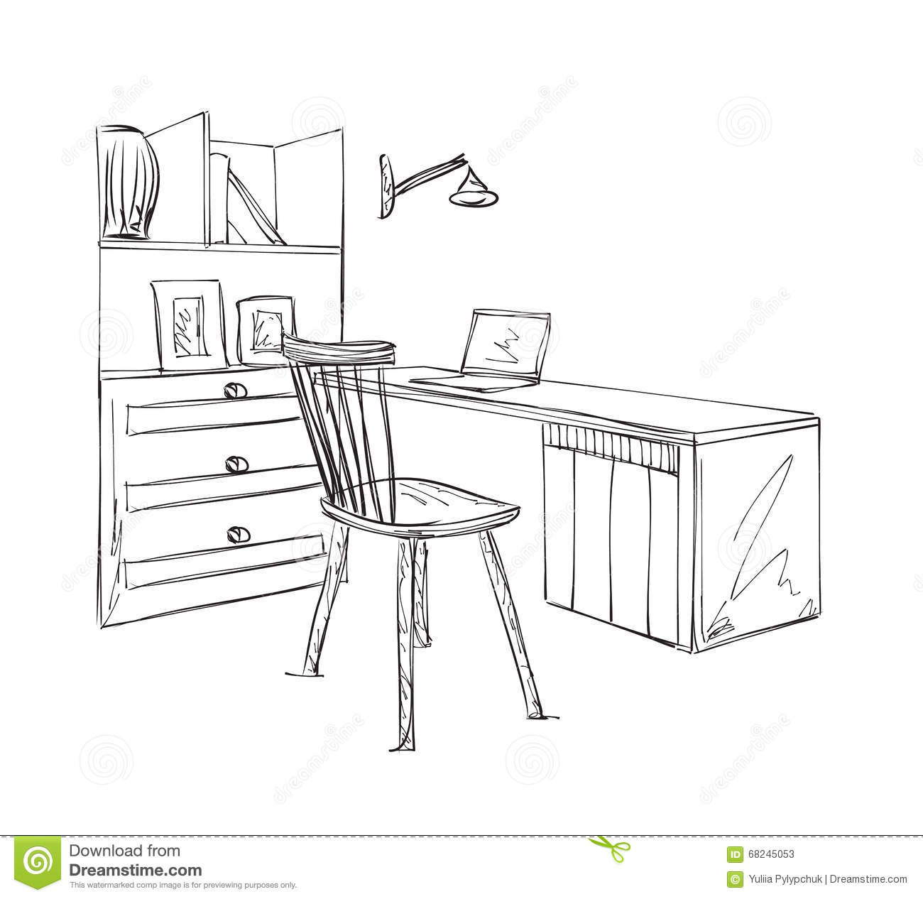 Awe Inspiring Work Place Sketch Hand Drawn Table And Chair Stock Vector Onthecornerstone Fun Painted Chair Ideas Images Onthecornerstoneorg