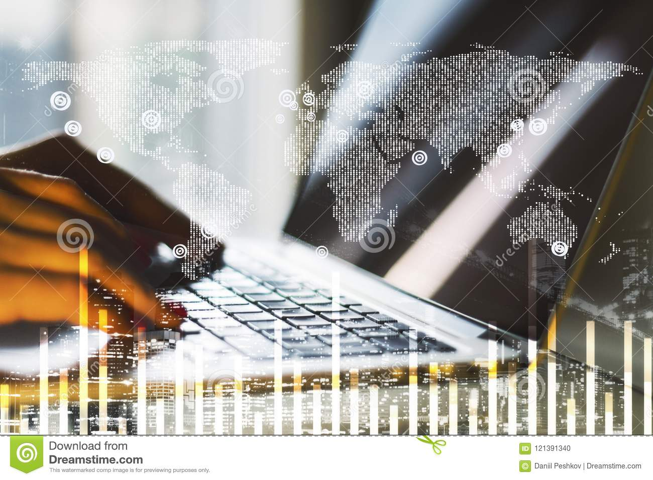 Laptop and business chart with world map stock photo image of download comp gumiabroncs Choice Image
