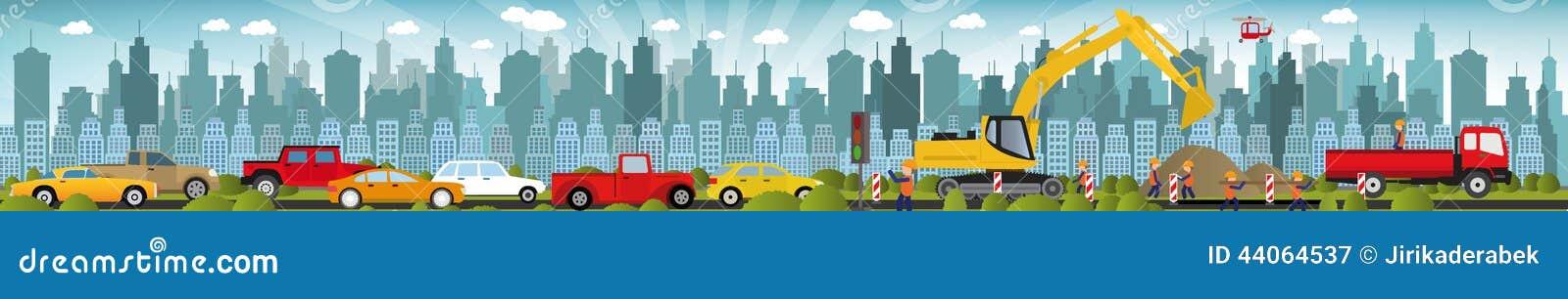 Work on roads (Traffic jam)