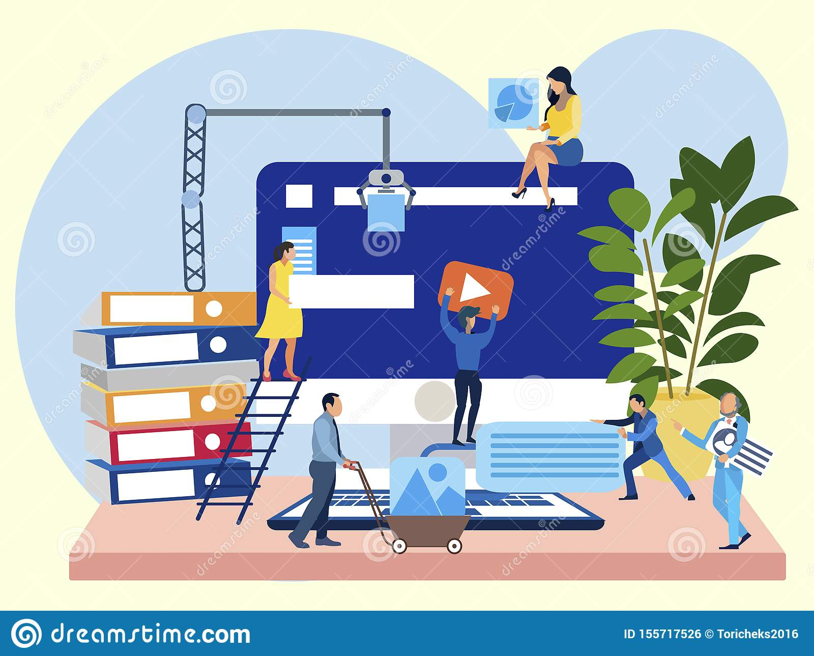 Work on the site, office employees are working on the project. In minimalist style Cartoon flat vector