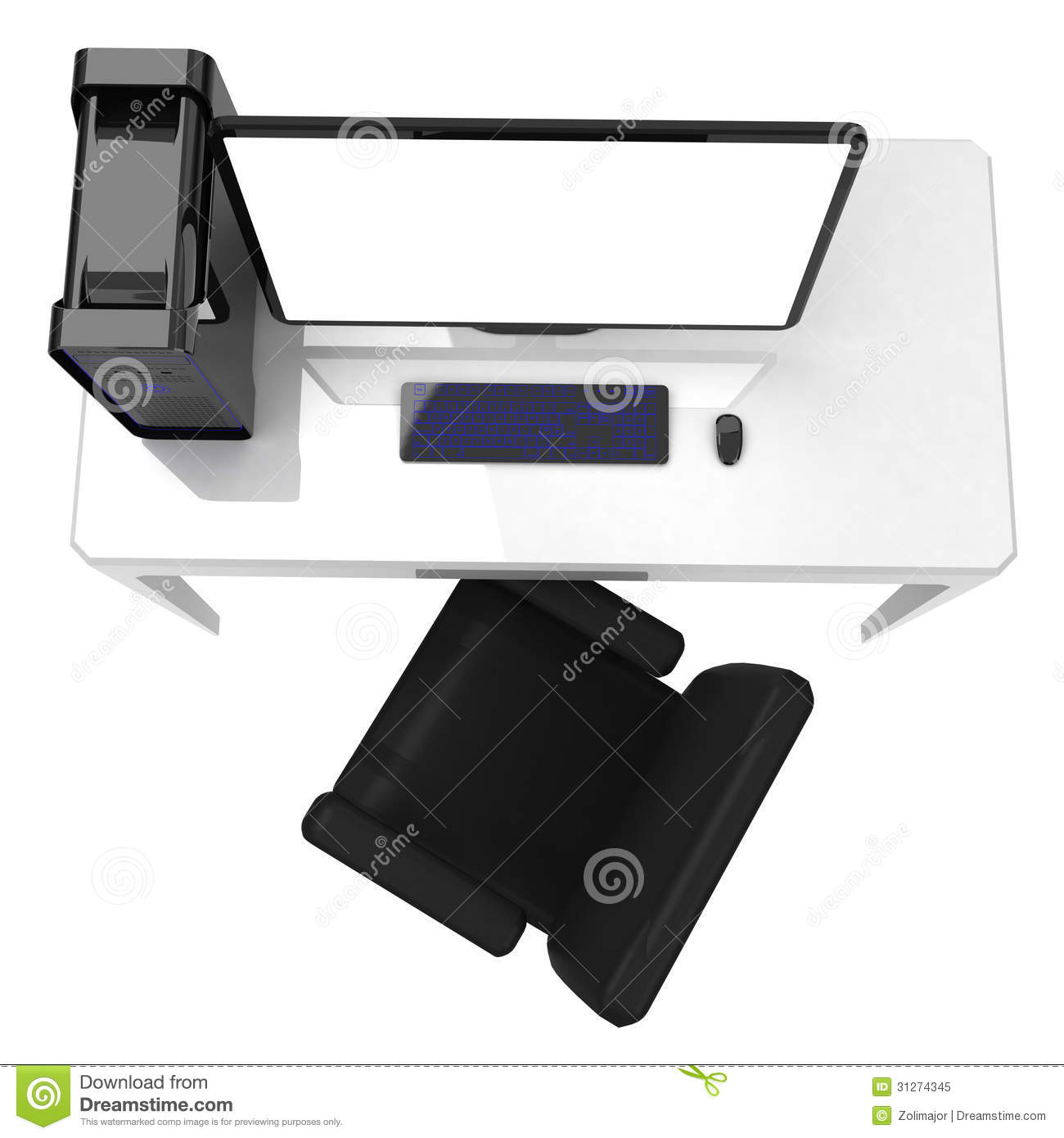 Office desk with chair desktop computer and large monitor, workstation
