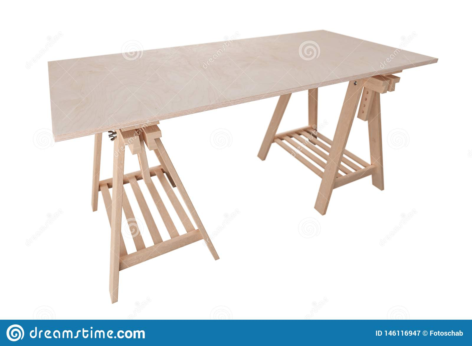 Wooden plywood shelf on two trestles, isolated on white background, 3d rendering