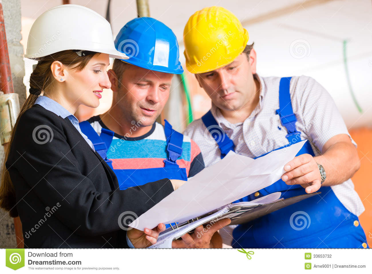 work team on construction site controlling floor plan stock photo image of check colleagues. Black Bedroom Furniture Sets. Home Design Ideas