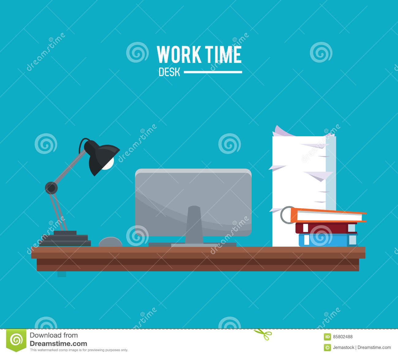 Work Table With Lamp And Book Stock Photo Cartoondealer