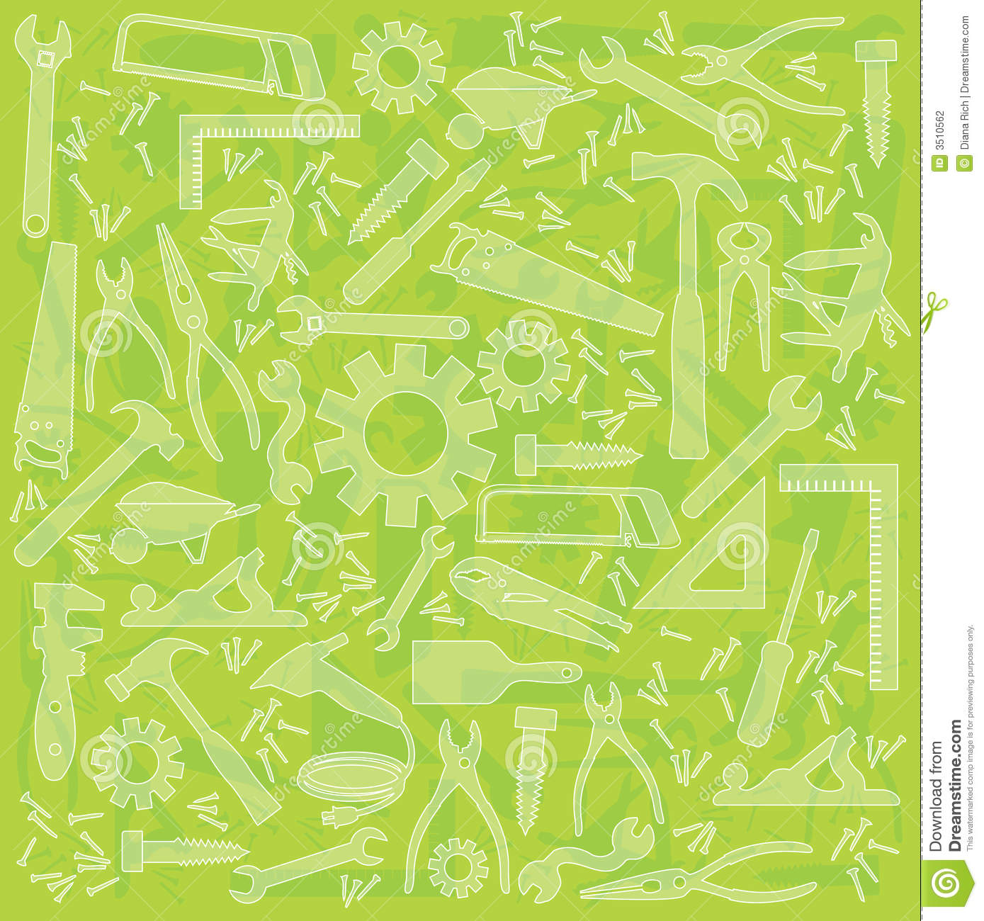 Useful work tool lime green background; Multiple work tools outlined ...