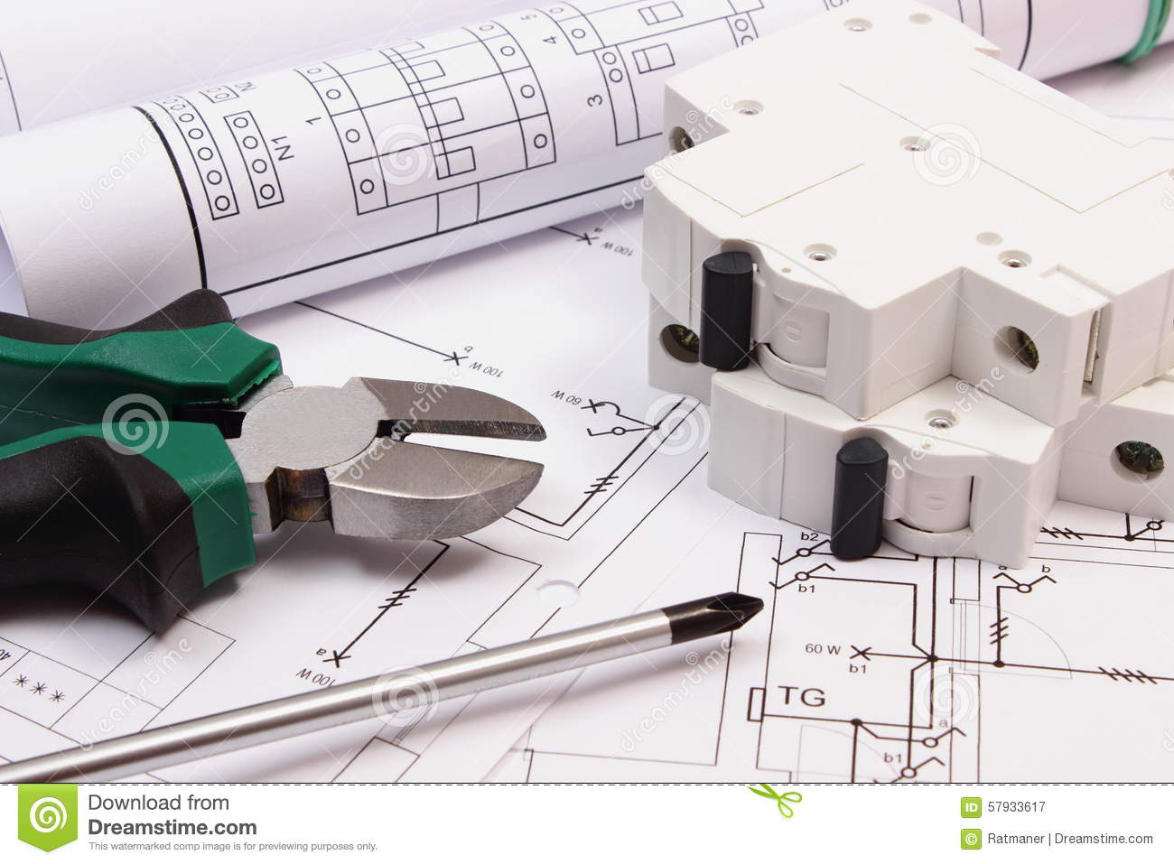 Work Tools, Electric Fuse And Rolls Of Diagrams On Construction ...