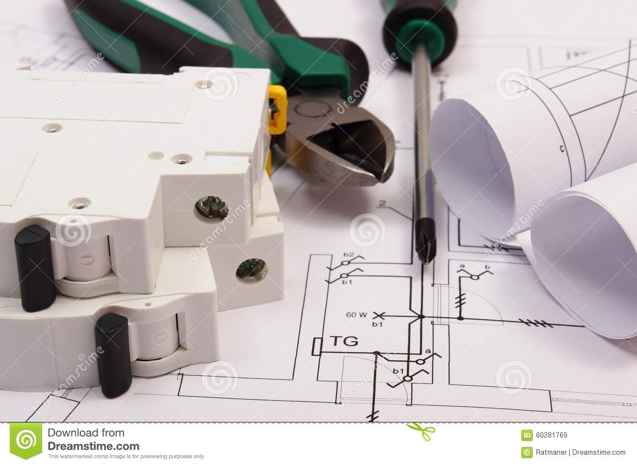 Work Tools Electric Fuse And Rolls Of Diagrams On Construction Electrical Drawing House