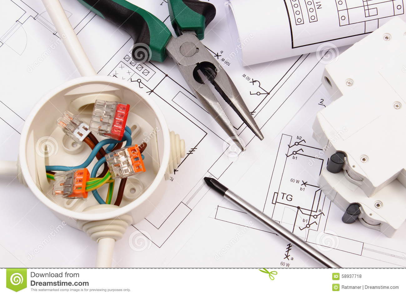 Work Tools Electrical Box And Fuse Construction Drawing Cover