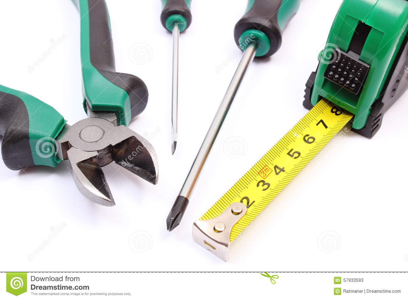 Work Tools For Engineer On White Background Stock Photos