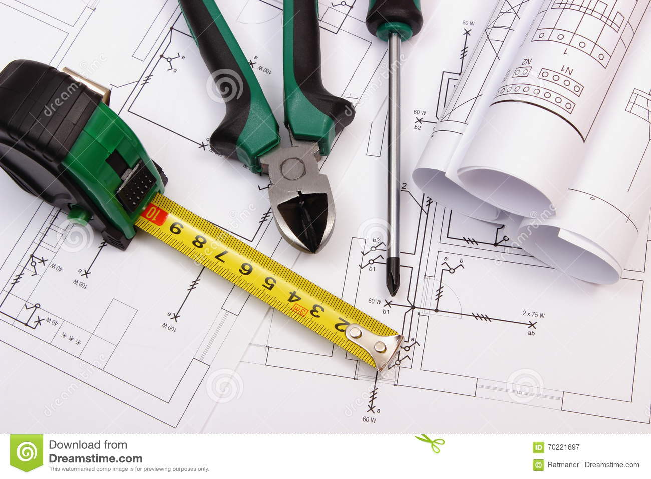 Work Tools And Rolls Of Diagrams On Construction Drawing House Electrical