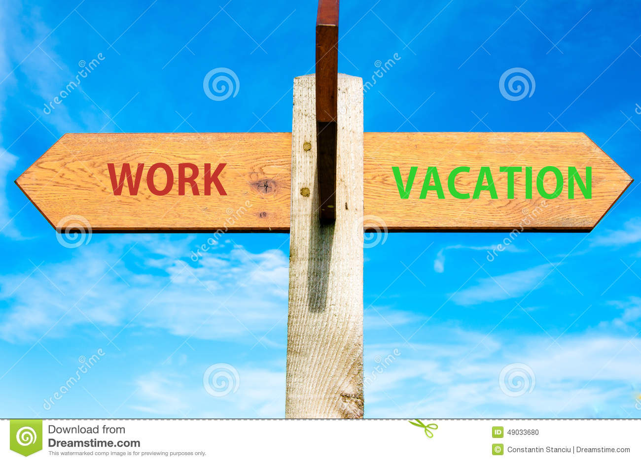 Work And Vacation Signs, Work Life Balance Conceptual ...