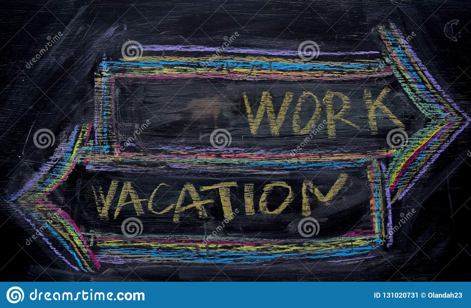 Work or Vacation written with color chalk concept on the blackboard